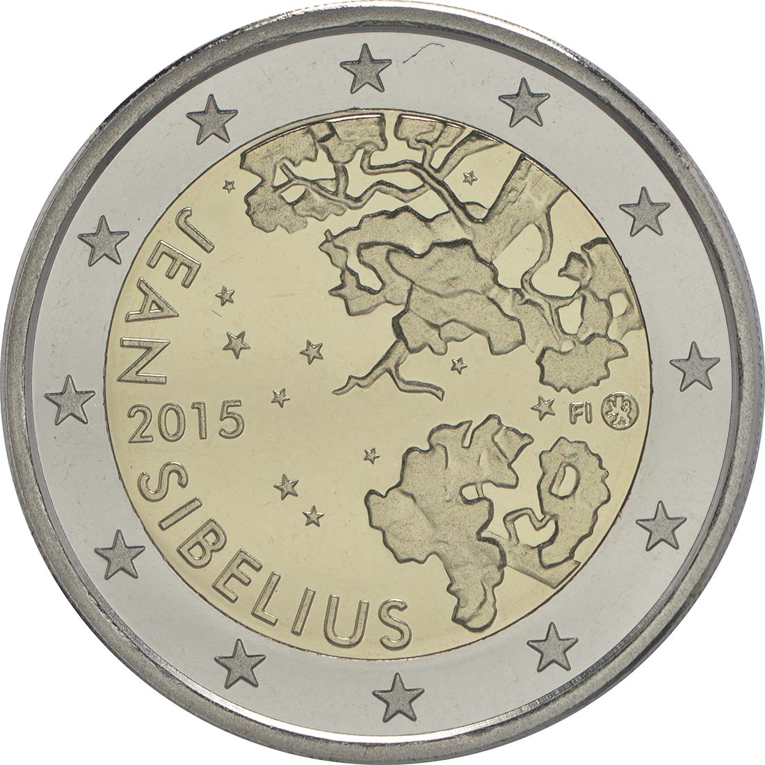 Rückseite:Finnland : 2 Euro Jean Sibelius  2015 PP