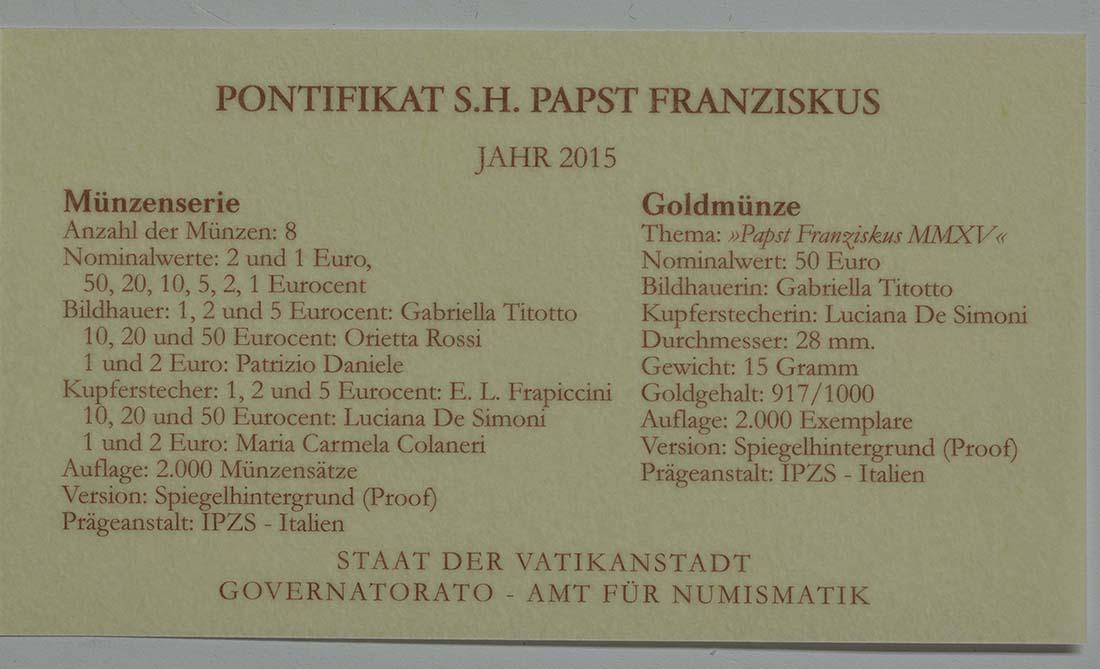 Zertifikat:Vatikan : 53,88 Euro KMS Vatikan mit 50 Euro Gedenkmünze Papst Franziskus MMXV  2015 PP