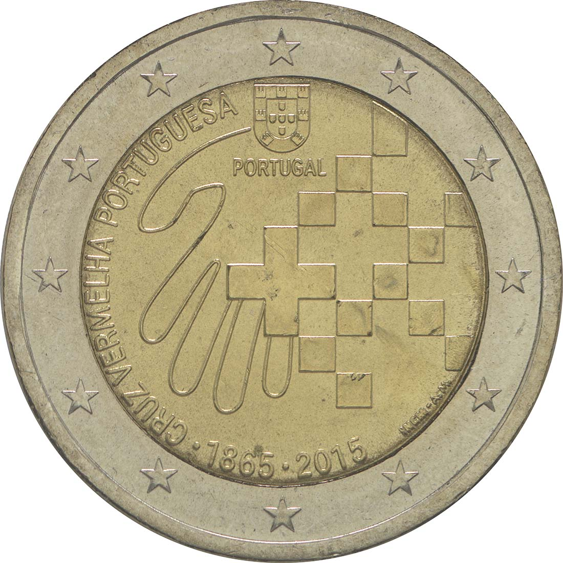 Rückseite :Portugal : 2 Euro 150 Jahre Rotes Kreuz  2015 bfr