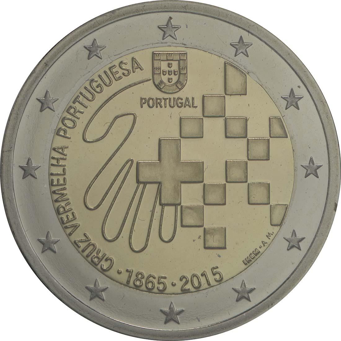 Rückseite :Portugal : 2 Euro 150 Jahre Rotes Kreuz  2015 PP