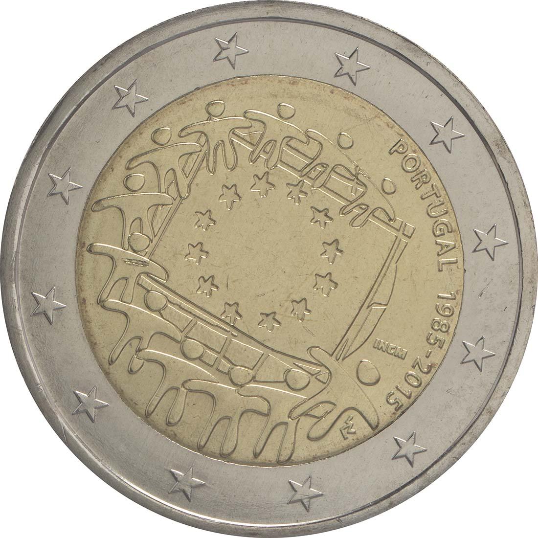 Rückseite :Portugal : 2 Euro 30 Jahre Europäische Flagge  2015 bfr