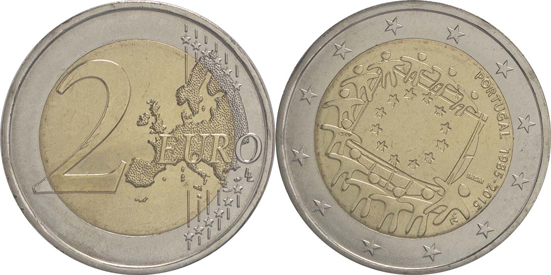 Portugal : 2 Euro 30 Jahre Europäische Flagge  2015 bfr