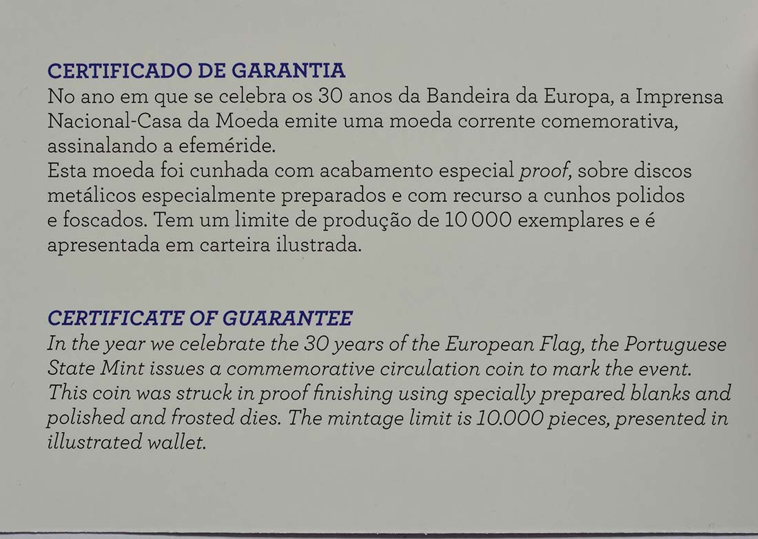 Zertifikat:Portugal : 2 Euro 30 Jahre Europäische Flagge  2015 PP