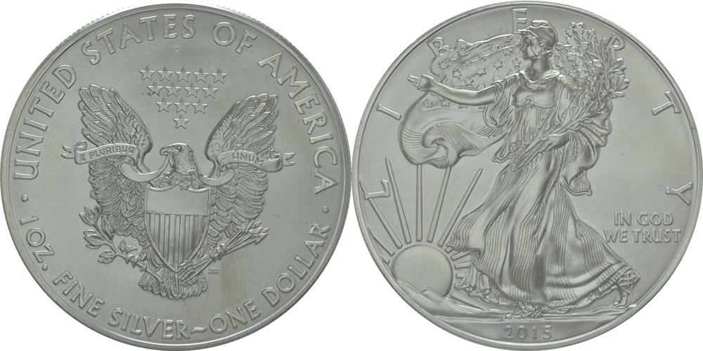 USA : 1 Dollar 1 $ 2015 Silber Eagle 1 oz  2015 Stgl.