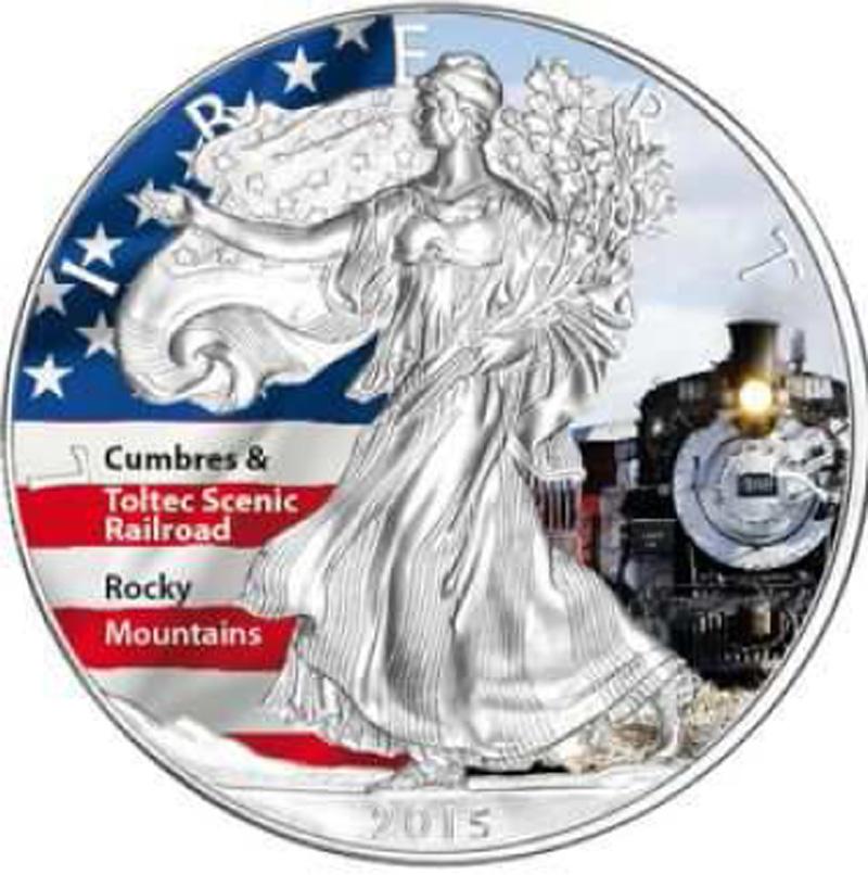 """USA : 1 Dollar Silber Eagle """"Scenic Railroad"""" - farbig  2015 Stgl."""