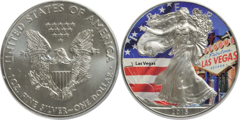 "USA : 1 Dollar Silber Eagle ""Las Vegas"" - farbig  2015 Stgl."