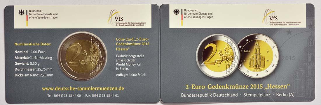 Deutschland : 2 Euro Hessen - Sonderblister World Money Fair WMF  2015 Stgl.