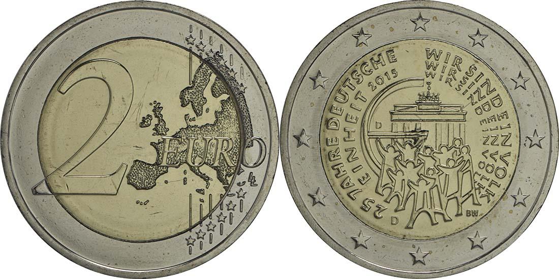 Übersicht:Deutschland : 2 Euro 25 Jahre Deutsche Einheit  2015 bfr