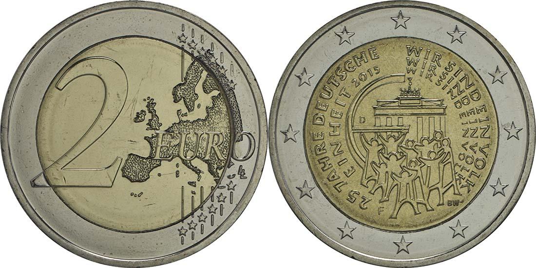 Deutschland 2 Euro 25 Jahre Deutsche Einheit 2015 F Ku Ni Bfr 4 Euro
