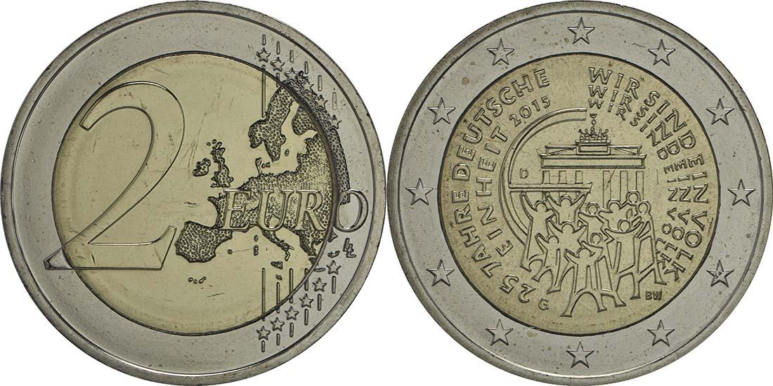 Lieferumfang:Deutschland : 2 Euro 25 Jahre Deutsche Einheit  2015 bfr