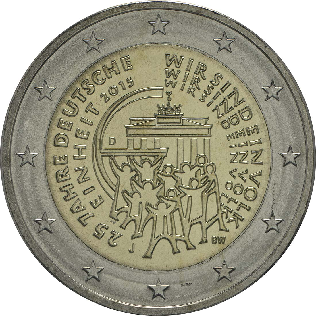 Rückseite :Deutschland : 2 Euro 25 Jahre Deutsche Einheit  2015 bfr
