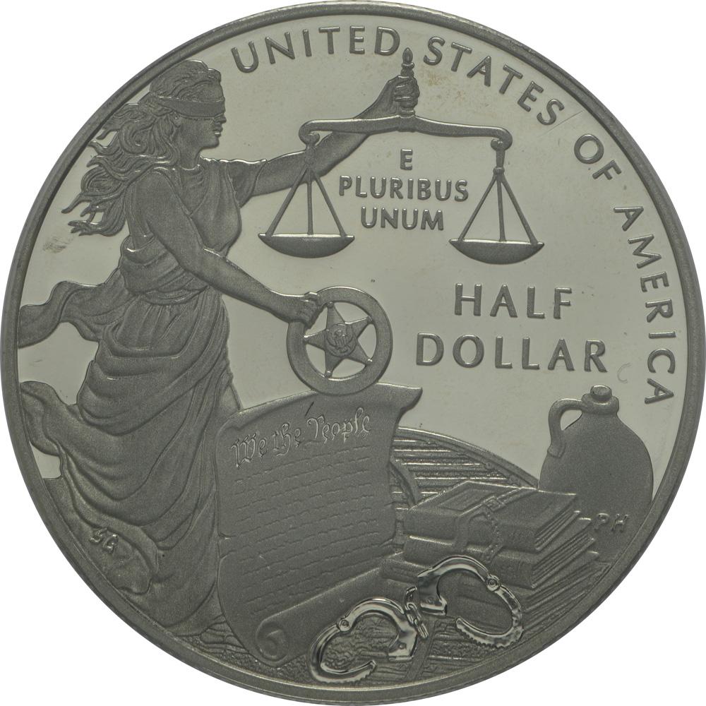 Rückseite:USA : 1/2 Dollar 225 Jahre United States Marshalls  2015 PP