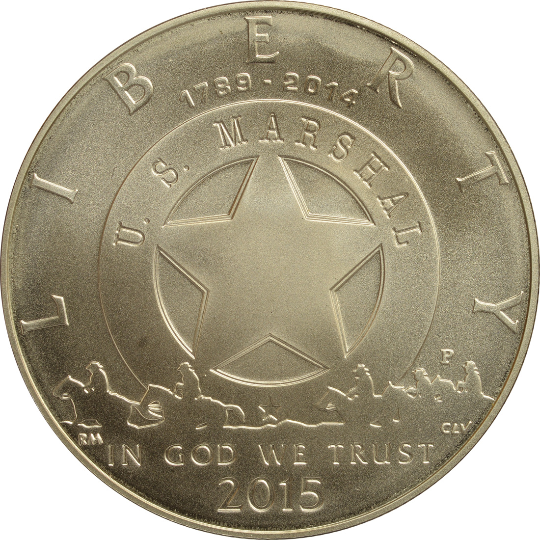 Rückseite:USA : 1/2 Dollar 225 Jahre United States Marshalls  2015 Stgl.