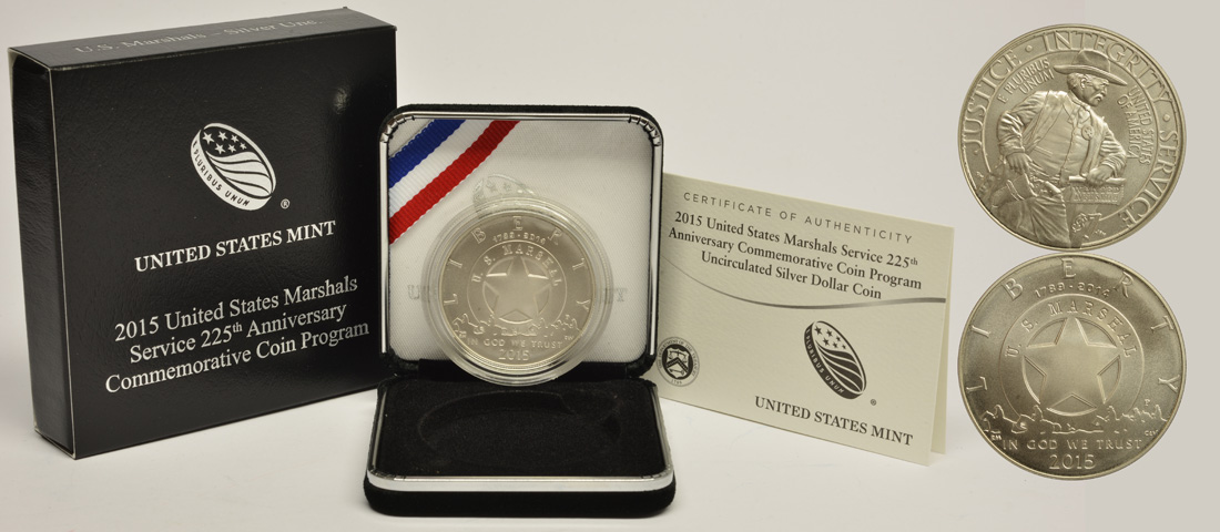 Lieferumfang :USA : 1/2 Dollar 225 Jahre United States Marshalls  2015 Stgl.