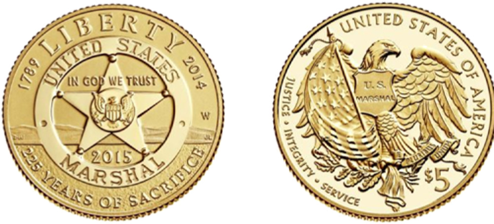 USA : 5 Dollar 225 Jahre United States Marshalls  2015 Stgl.