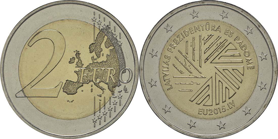 Lettland : 2 Euro EU Ratspräsidentschaft  2015 bfr
