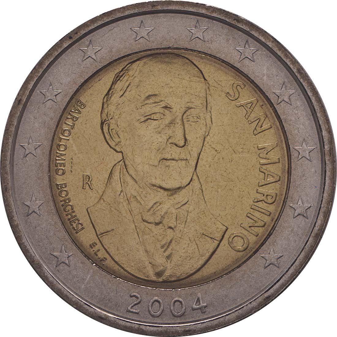 Rückseite:San Marino : 2 Euro Bartolomeo Borghesi  2004 vz/Stgl.