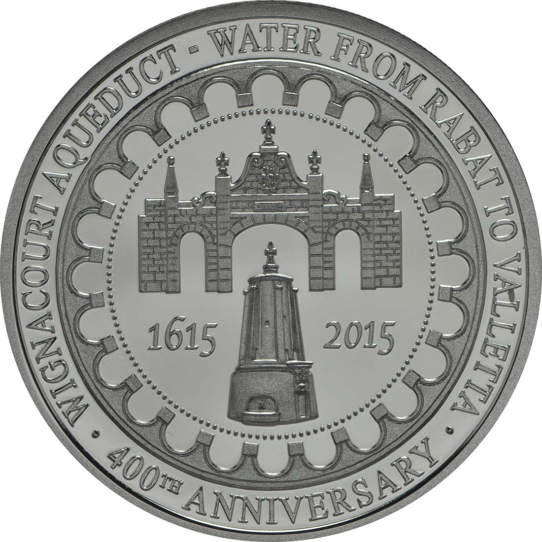 Rückseite:Malta : 10 Euro Alof de Wignacourt/400 J. Aquädukt von La Valletta  2015 PP