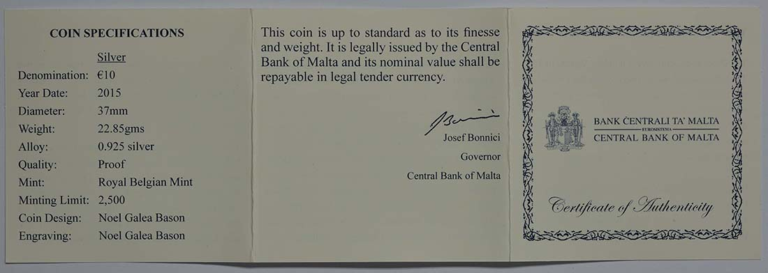 Zertifikat:Malta : 10 Euro Alof de Wignacourt/400 J. Aquädukt von La Valletta  2015 PP