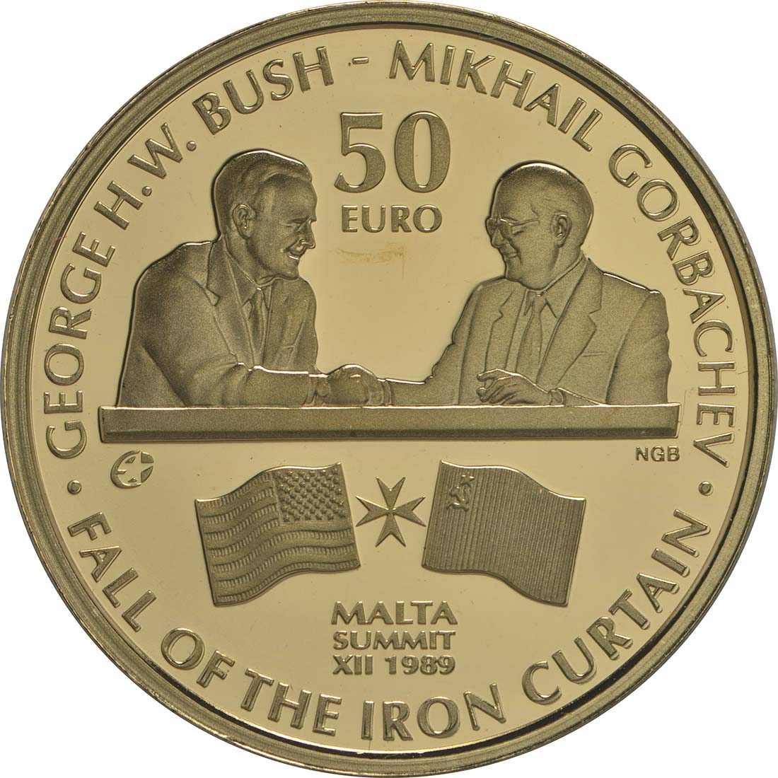 Vorderseite:Malta : 50 Euro Fall des eisernen Vorhanges  2015 PP
