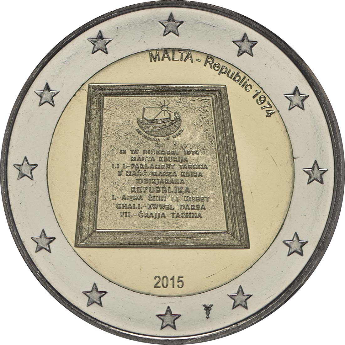 Rückseite:Malta : 5,88 Euro KMS Malta inkl. 2 Euro Gedenkmünze Republik  2015 Stgl.