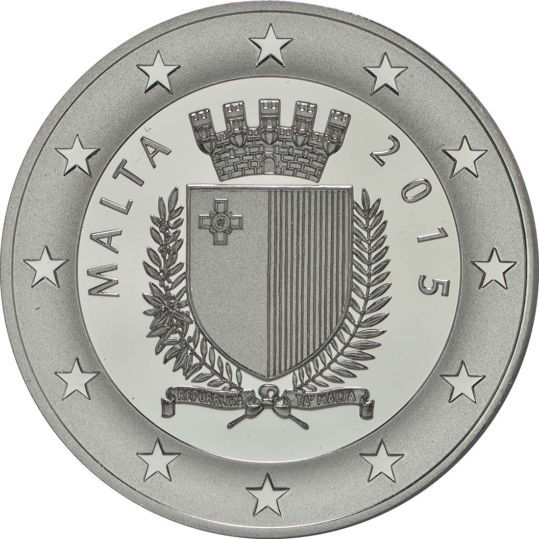 Rückseite:Malta : 10 Euro Auberge de Baviere  2015 PP