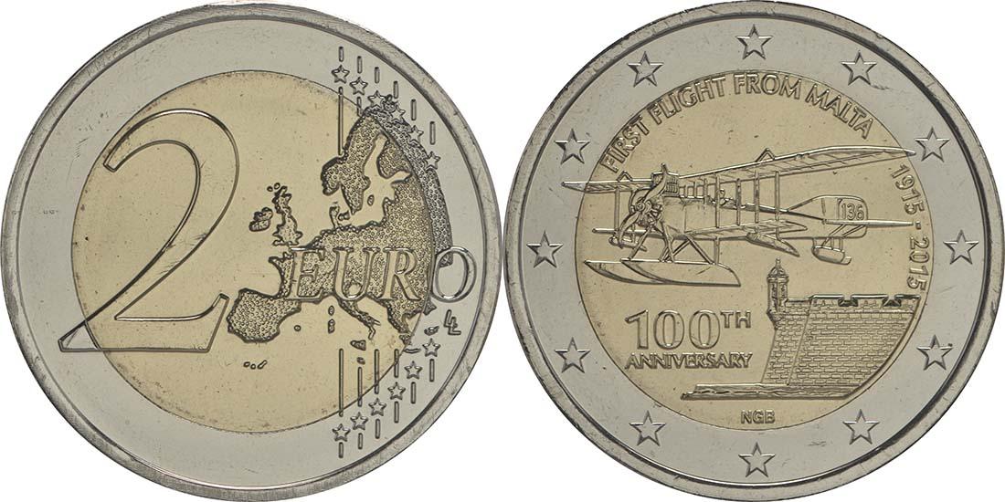 Übersicht:Malta : 2 Euro 100 Jahre erster Flug von Malta  2015 bfr