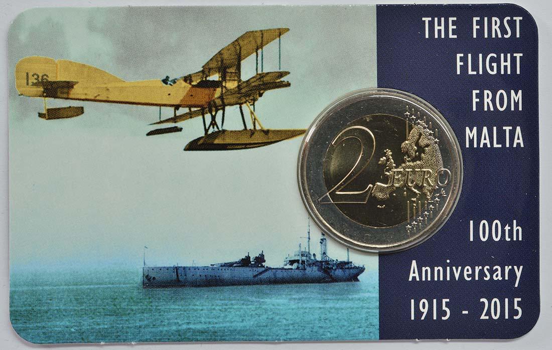 Malta : 2 Euro 100 Jahre erster Flug von Malta  2015 bfr