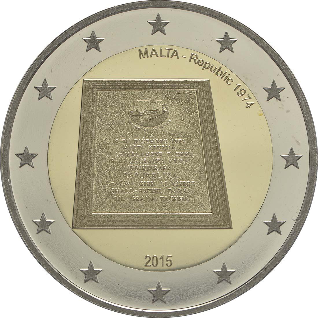 Rückseite:Malta : 2 Euro Republik Malta  2015 PP