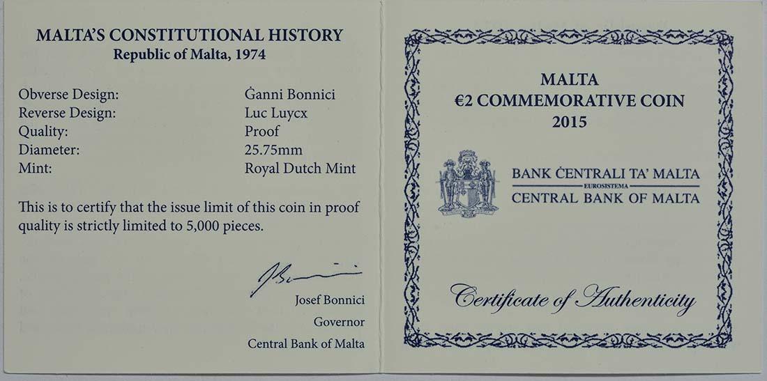 Zertifikat:Malta : 2 Euro Republik Malta  2015 PP