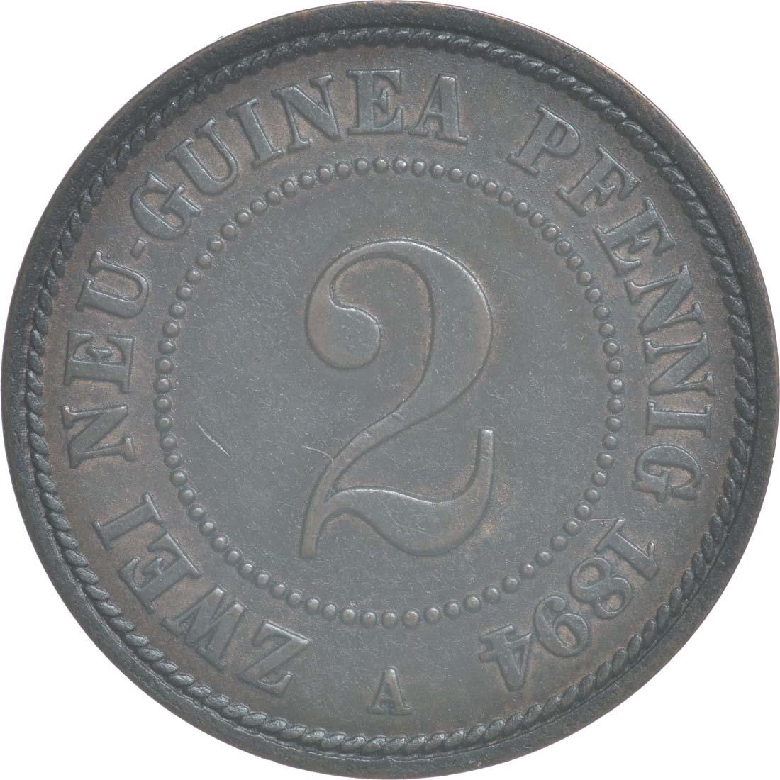Vorderseite:Deutschland : 2 Pfennig   1894 vz/Stgl.