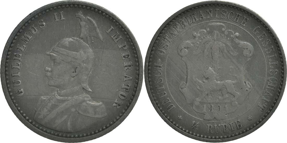 Deutschland : 1/4 Rupie Wilhelm II. in Uniform patina 1901 ss.
