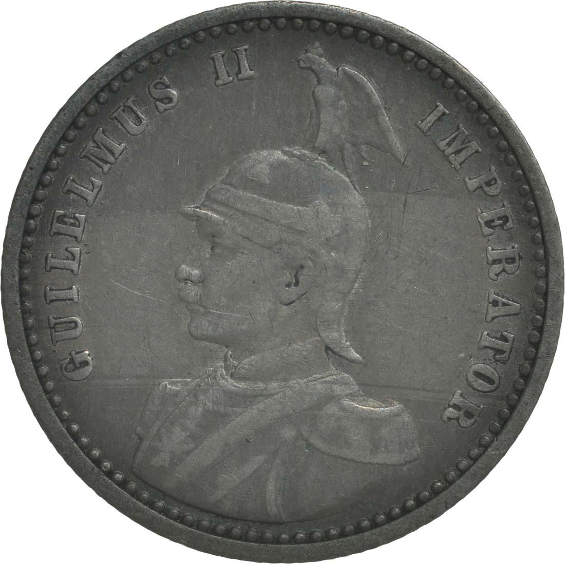 Vorderseite:Deutschland : 1/4 Rupie Wilhelm II. in Uniform patina 1901 ss.