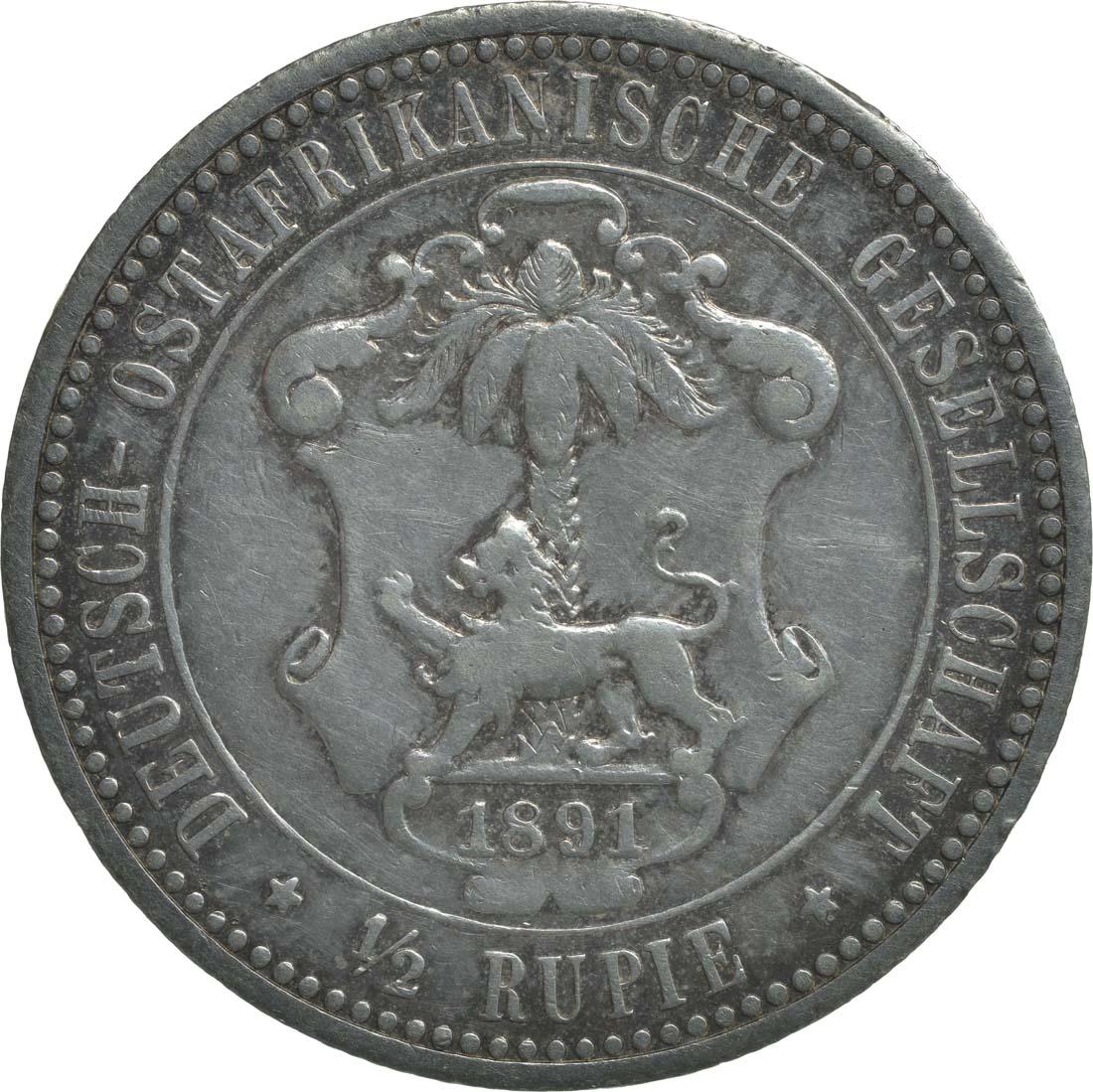 Rückseite:Deutschland : 1/2 Rupie Wilhelm II. in Uniform  1891 vz.