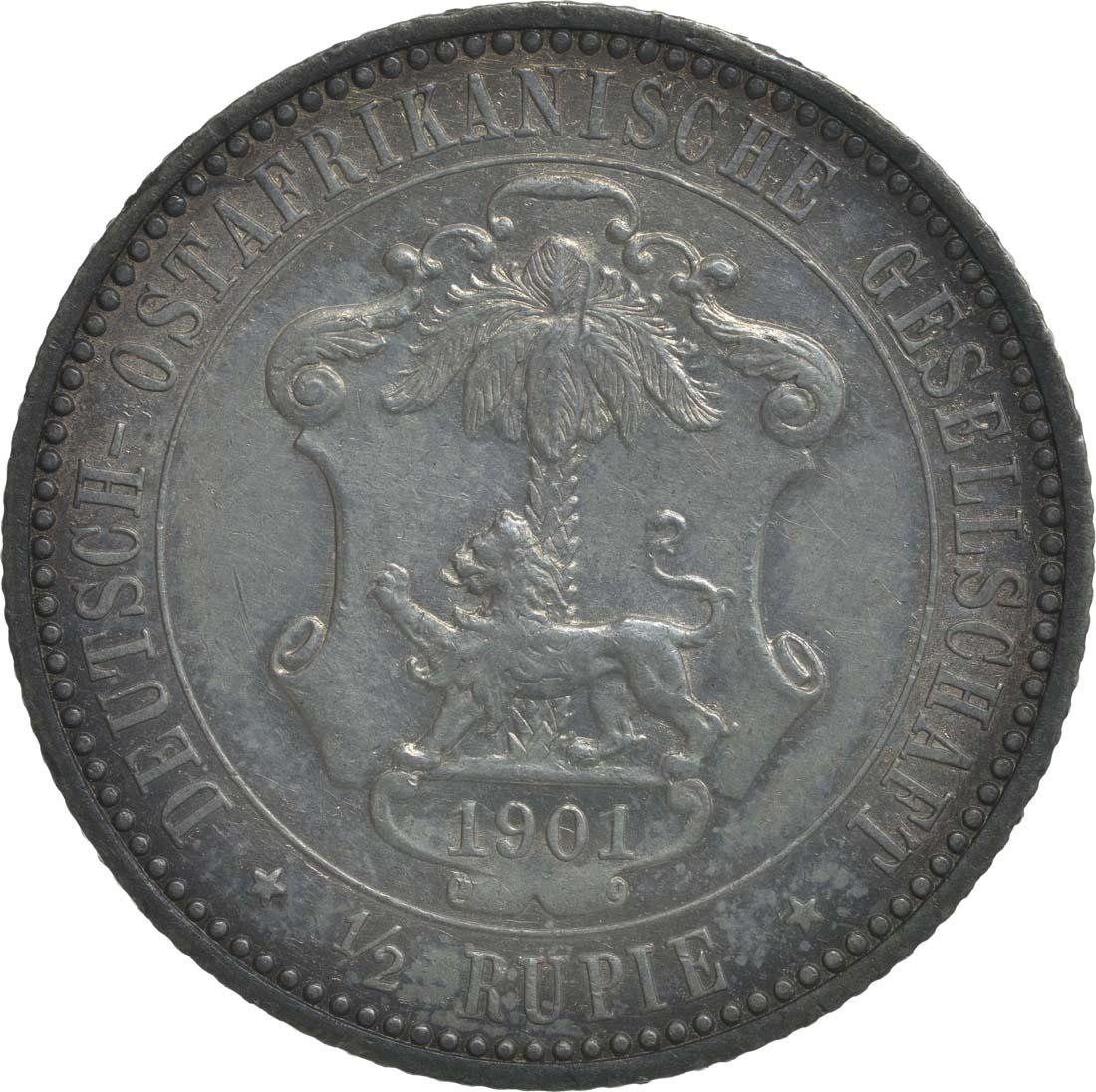 Rückseite:Deutschland : 1/2 Rupie Wilhelm II. in Uniform patina 1901 ss/vz.