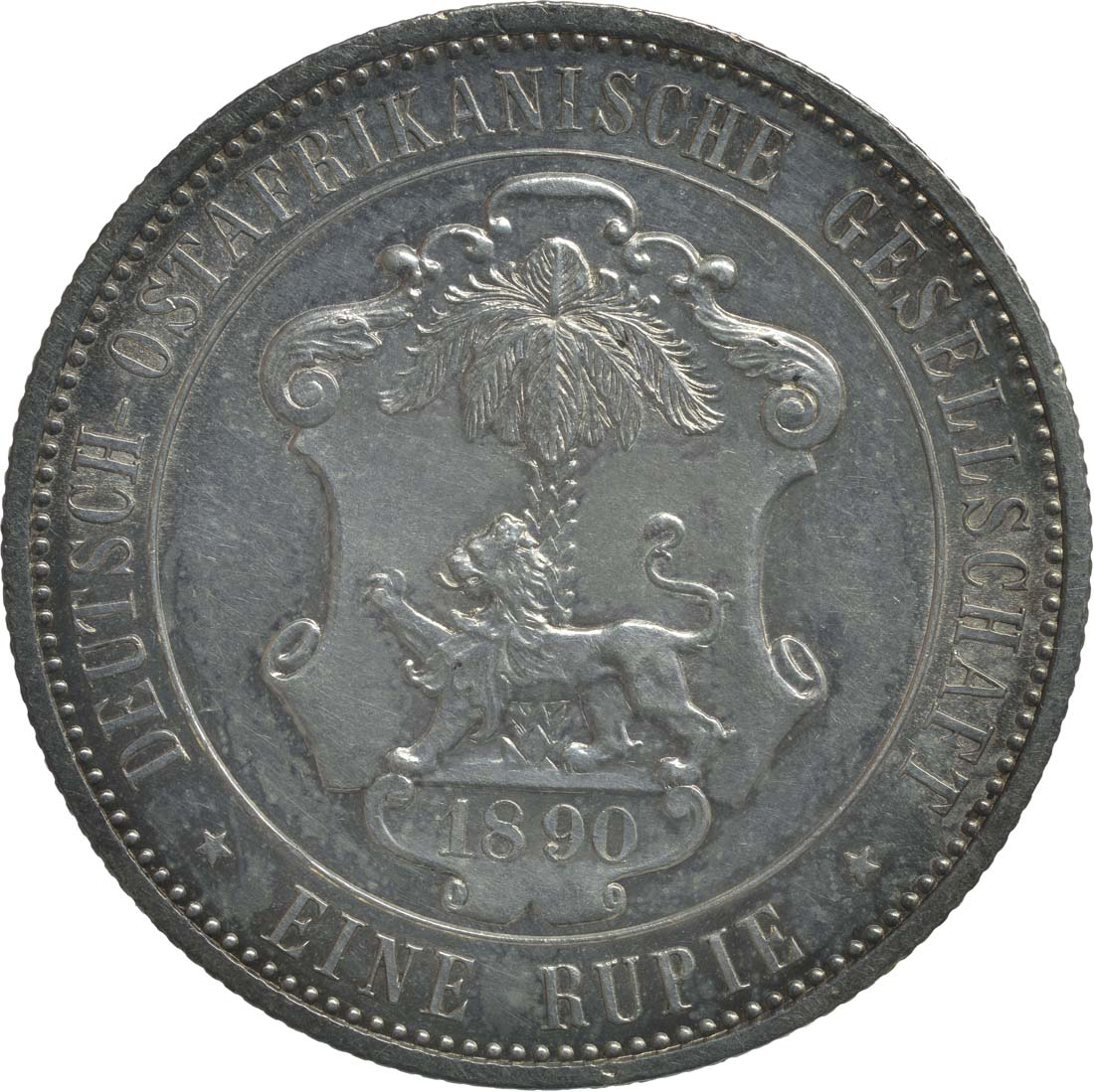 Rückseite:Deutschland : 1 Rupie Wilhelm II. in Uniform  1890 vz/Stgl.