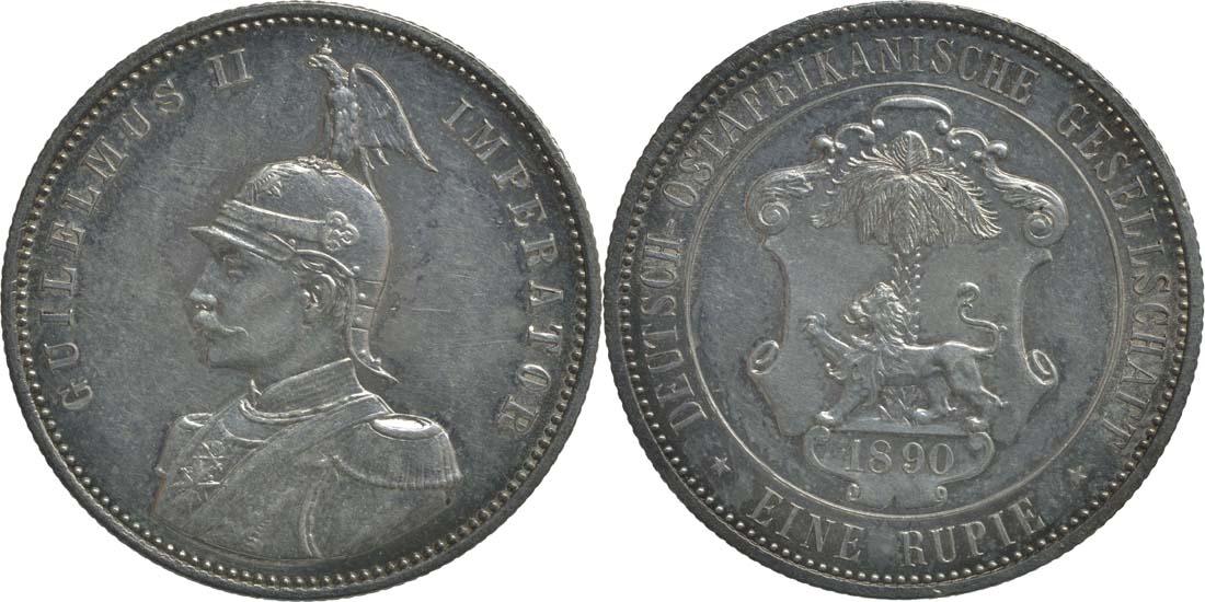 Deutschland : 1 Rupie Wilhelm II. in Uniform  1890 vz/Stgl.