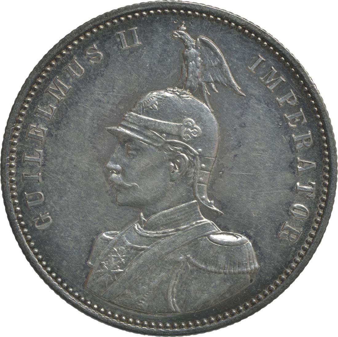 Vorderseite:Deutschland : 1 Rupie Wilhelm II. in Uniform  1890 vz/Stgl.
