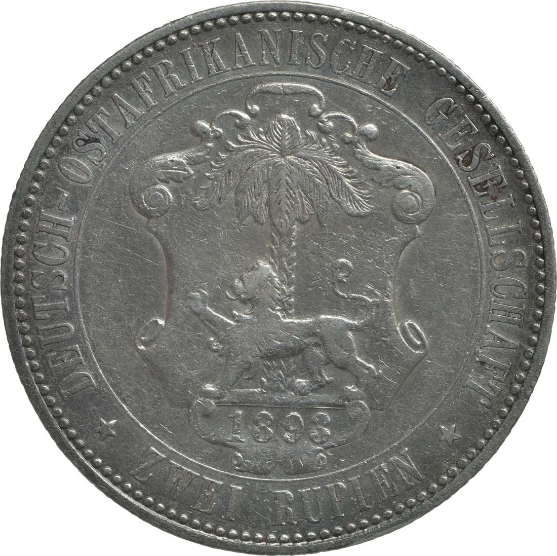 Rückseite:Deutschland : 2 Rupien Wilhelm II. in Uniform Kratzer 1893 f.ss