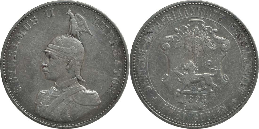 Deutschland : 2 Rupien Wilhelm II. in Uniform Kratzer 1893 f.ss