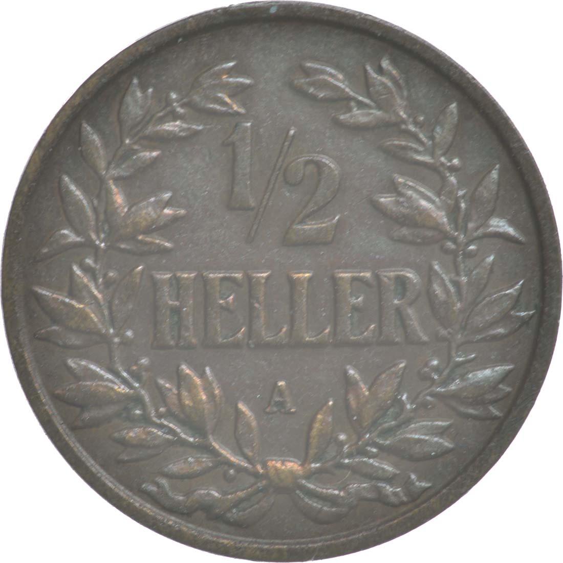 Vorderseite:Deutschland : 1/2 Heller   1904 vz.