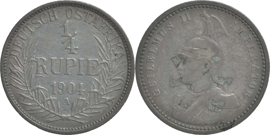 Deutschland : 1/4 Rupie Wilhelm II. in Uniform; Punkt a.VS patina 1904 ss.