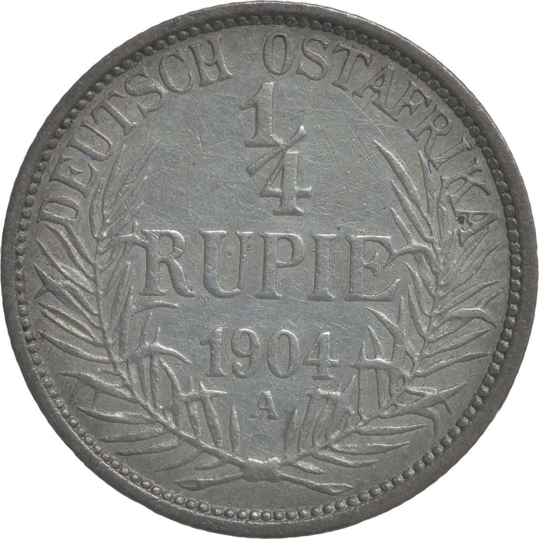 Vorderseite:Deutschland : 1/4 Rupie Wilhelm II. in Uniform; Punkt a.VS patina 1904 ss.