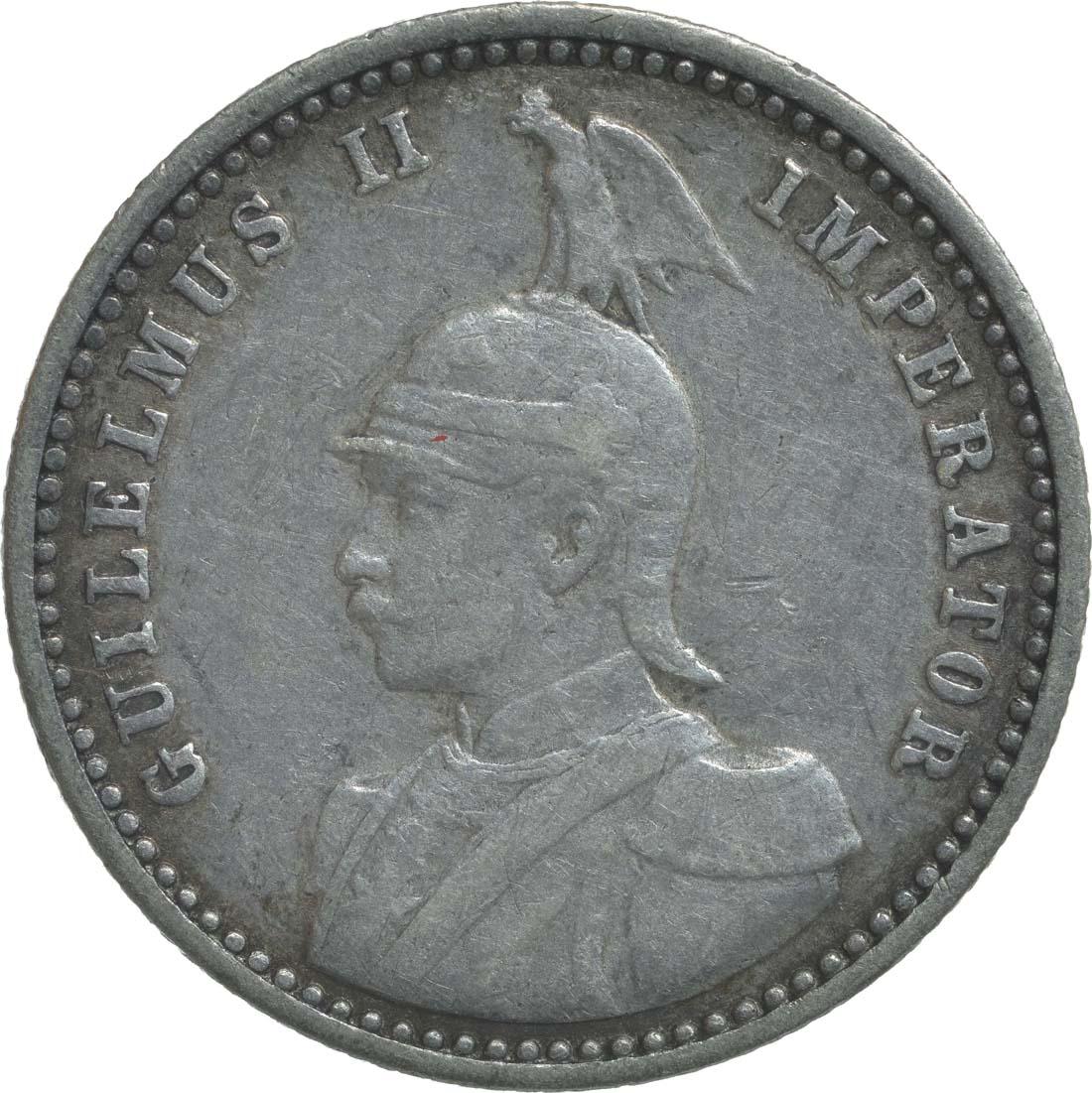 Rückseite:Deutschland : 1/4 Rupie Wilhelm II. in Uniform  1912 ss/vz.