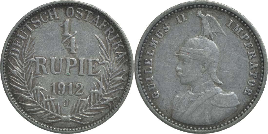 Übersicht:Deutschland : 1/4 Rupie Wilhelm II. in Uniform  1912 ss/vz.