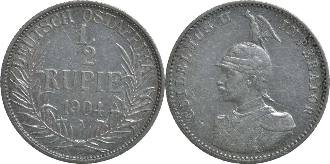 Deutschland : 1/2 Rupie Wilhelm II. in Uniform  1904 ss.