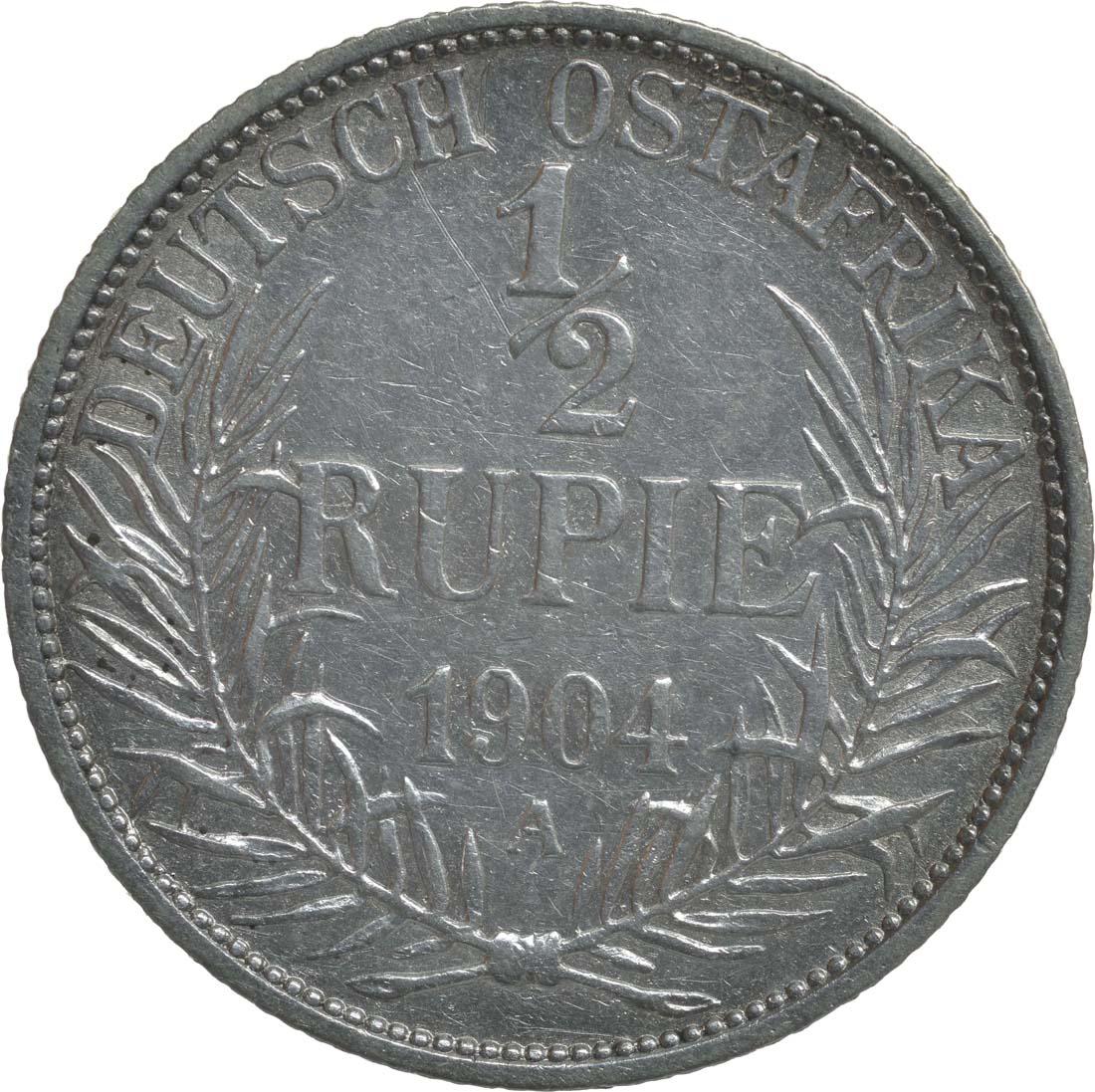 Vorderseite :Deutschland : 1/2 Rupie Wilhelm II. in Uniform  1904 ss.