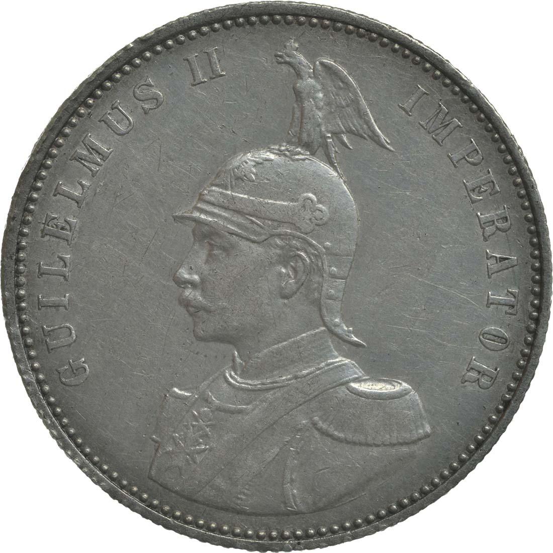 Rückseite:Deutschland : 1 Rupie Wilhelm II. in Uniform  1910 ss/vz.