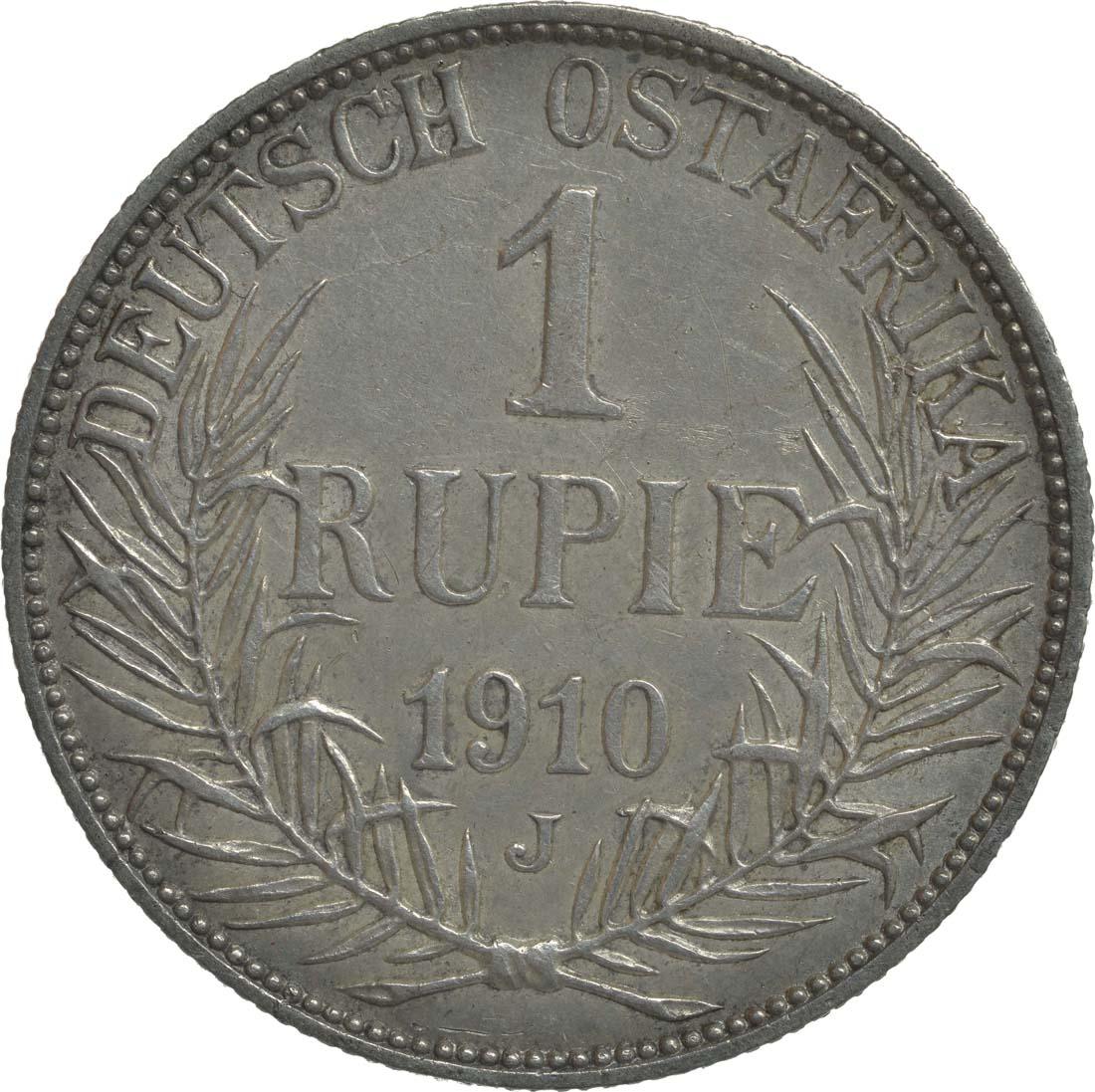 Vorderseite:Deutschland : 1 Rupie Wilhelm II. in Uniform  1910 ss/vz.
