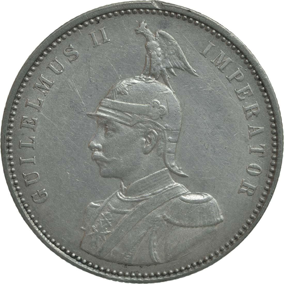 Rückseite:Deutschland : 1 Rupie Wilhelm II. in Uniform winz. Rs. 1911 vz.